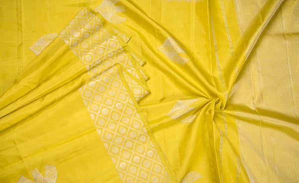 Lemon Yellow Pure Kanchipuram Handloom Silk Saree