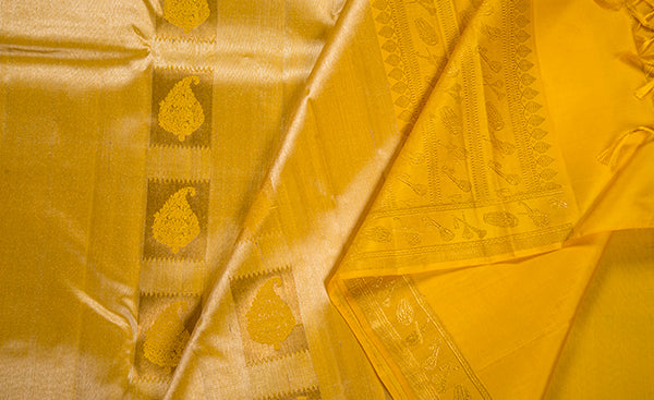 Mustard Pure Kanchipuram Handloom Silk Saree