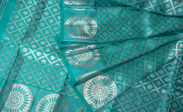 Light Teal Blue Pure Kanchipuram Handloom Silk Saree