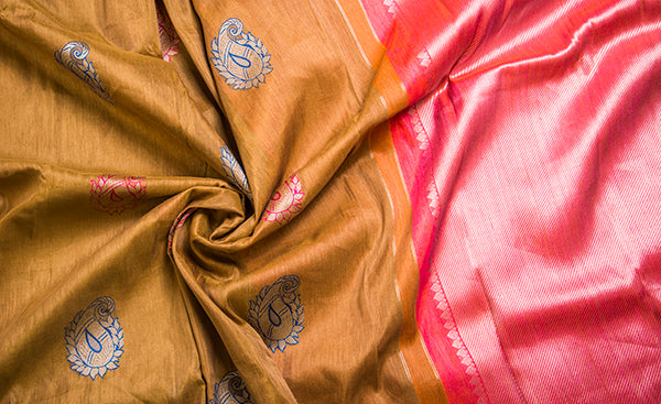 Linen Kanchipuram silk saree