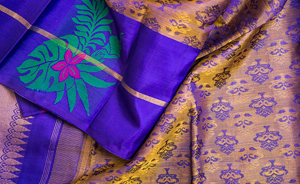 Purple & Mustard Pure Kanchipuram Handloom Silk Saree