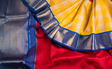 Yellow, Red & Blue Pure Kanchipuram Handloom Silk Saree