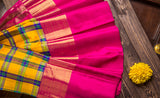 Yellow & Pink Pure Kanchipuram Handloom Silk Saree