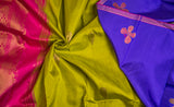 Purple, Green & Pink Pure Kanchipuram Handloom Silk Saree