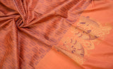 Peach Pure Kanchipuram Silk Saree With Pure Zari