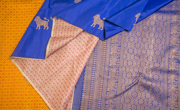 Mustard & Blue Pure Kanchipuram Silk Saree With Pure Zari