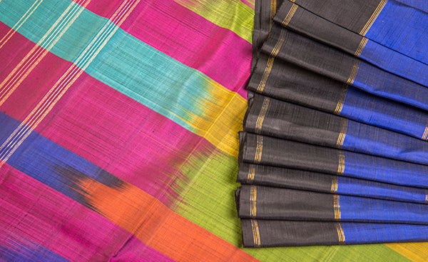 Blue & Black Pure Kanchipuram Silk Saree With Pure Zari