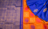 Orange & Blue Pure Kanchipuram Silk Saree With Pure Zari