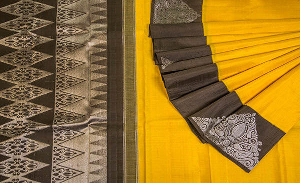 Yellow & Black Pure Kanchipuram Silk Saree With Pure Zari