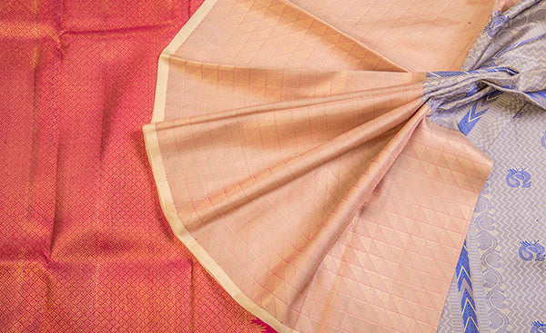Beige, Red & Blue Pure Kanchipuram Handloom Silk Saree