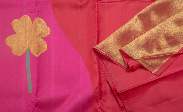 Pink & Red Pure Kanchipuram Handloom Silk Saree With Pure Zari