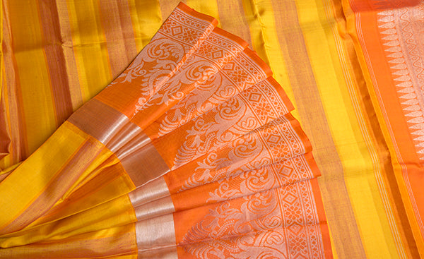 Yellow & Orange Pure Kanchipuram Handloom Silk Saree