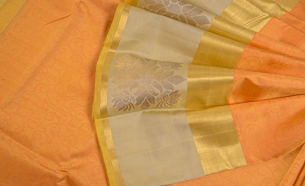 Light Orange Pure Kanchipuram Handloom Silk Saree