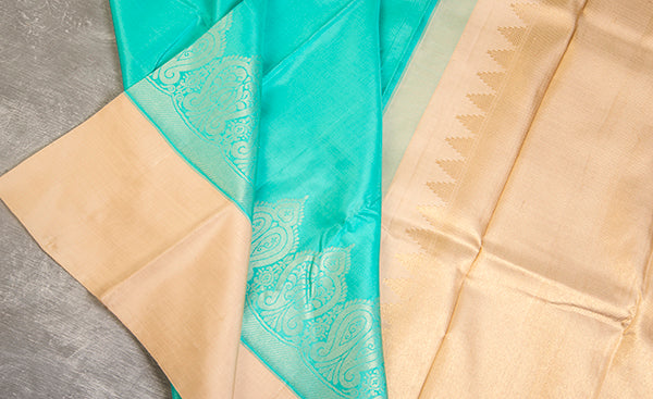Aquamarine & Cream Pure Kanchipuram Handloom Silk Saree