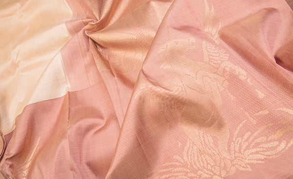 Cream & Blush Pink Pure Kanchipuram Handloom Silk Saree