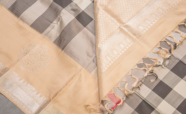 Grey & Beige Checked Pure Kanchipuram Handloom Silk Saree