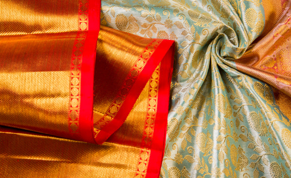Light Blue & Bright Red Pure Kanchipuram Bridal Handloom Silk Saree