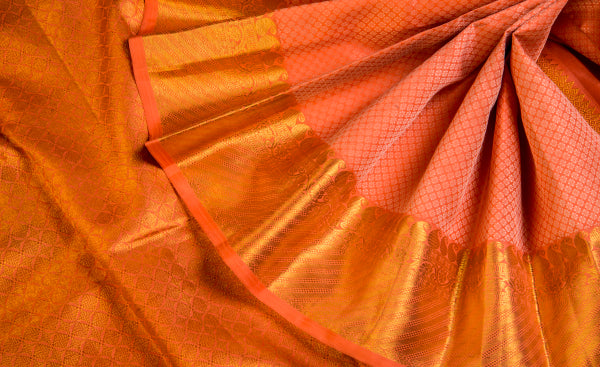 Peach Exclusive Pure Kanchipuram Handloom Silk Saree