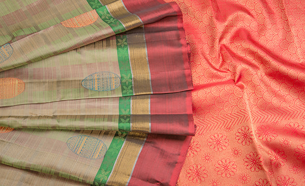 Multicoloured Pure Kanchipuram Handloom Silk Saree