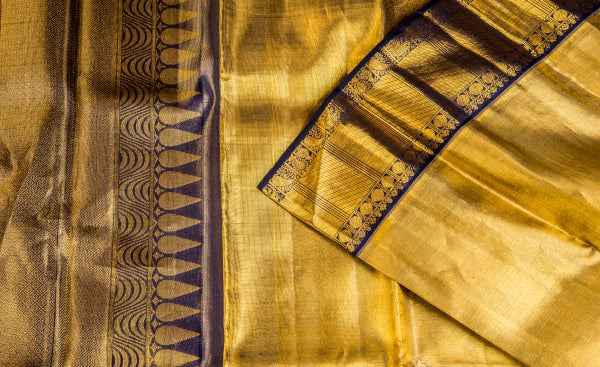 Gold & Twilight Blue Pure Kanchipuram Bridal Handloom Silk Saree