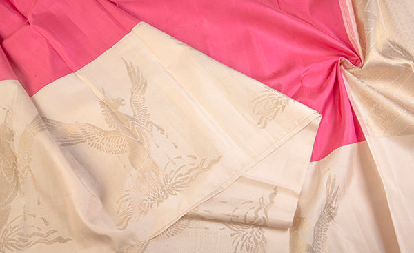 Cream & Pink Pure Kanchipuram Handloom Silk Saree