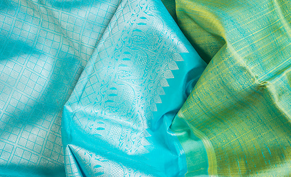 Blue & Green Pure Kanchipuram Handloom Silk Saree