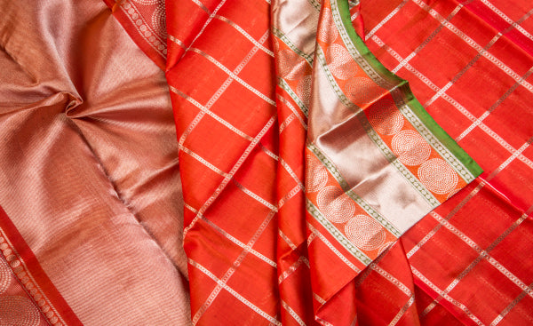 Deep Orange Exclusive Pure Kanchipuram Handloom Silk Saree