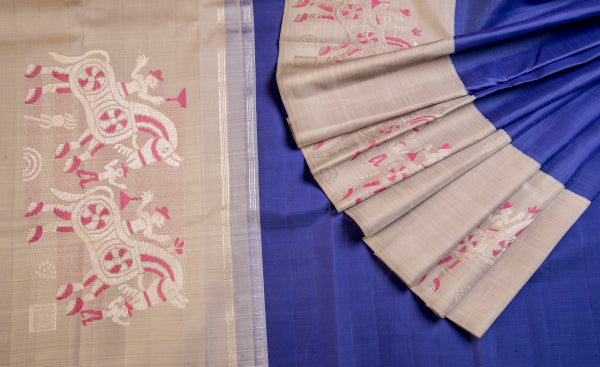 Blue & Grey Pure Kanchipuram Handloom Silk Saree