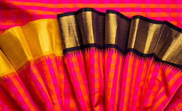 Pink & Orange Pure Kanchipuram Handloom Silk Saree
