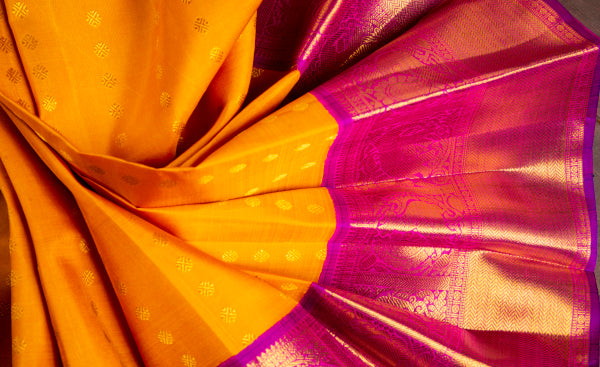 Orange & Pink Pure Kanchipuram Handloom Silk Saree