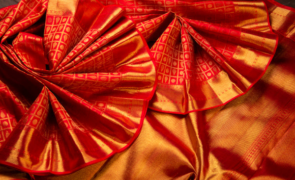 Red Pure Kanchipuram Handloom Silk Saree