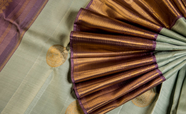 Light Blue & Aubergine Pure Kanchipuram Handloom Silk Saree