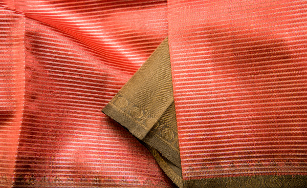 Peach & Taupe Pure Kanchipuram Handloom Silk Saree