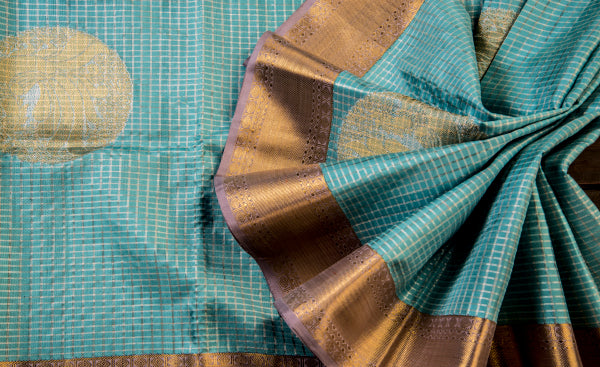 Sky Blue Pure Kanchipuram Handloom Silk Saree