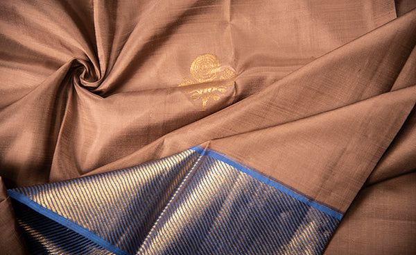 Nude-Brown & navy Blue Pure Kanchipuram Handloom Silk Saree