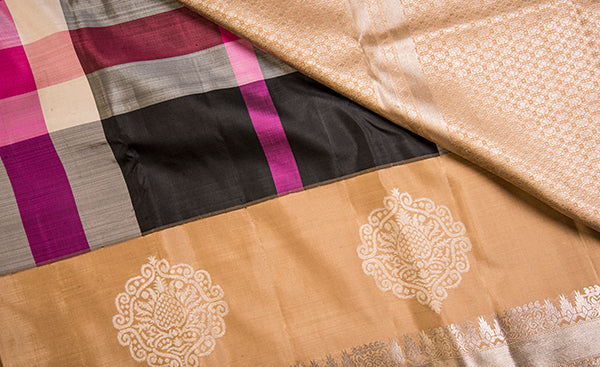 Black, Magenta & Beige Exclusive Kanchipuram Handloom Silk Saree