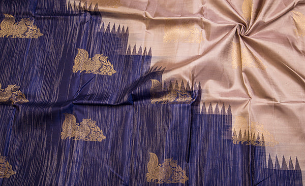 Navy Blue & Soft Beige Exclusive Kanchipuram Handloom Silk Saree
