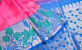 Pink & Blue Exclusive Kanchipuram Handloom Silk Saree