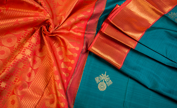 Dark Teal & Bright Orange Pure Kanchipuram Handloom Silk Saree