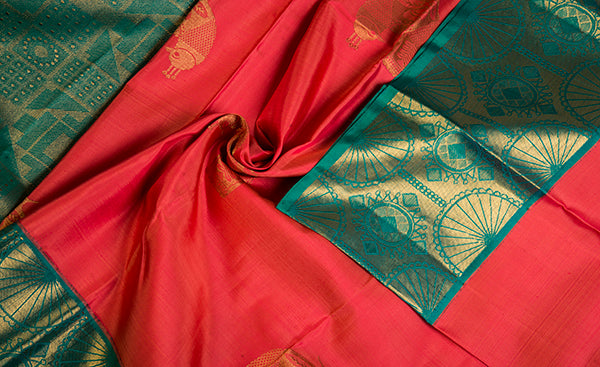 Dark Pink & Green Pure Kanchipuram Handloom Silk Saree
