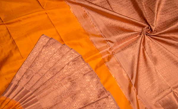 Mustard & Copper Brown Kanchipuram Handloom Silk Saree