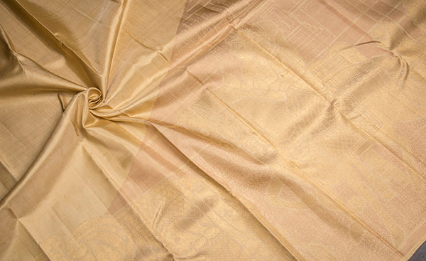 Cream Exclusive Kanchipuram Handloom Silk Saree