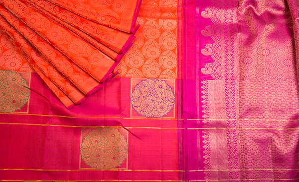 Orange & Pink Kanchipuram Handloom Silk Saree