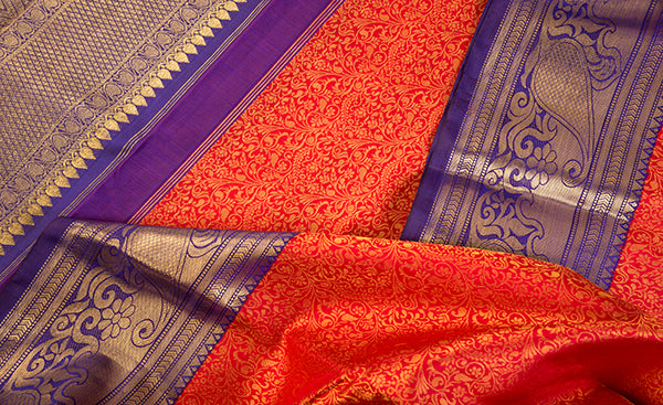 Red & Purple Kanchipuram Handloom Silk Saree