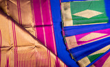 Royal Blue, Green & Magenta Kanchipuram Handloom Silk Saree