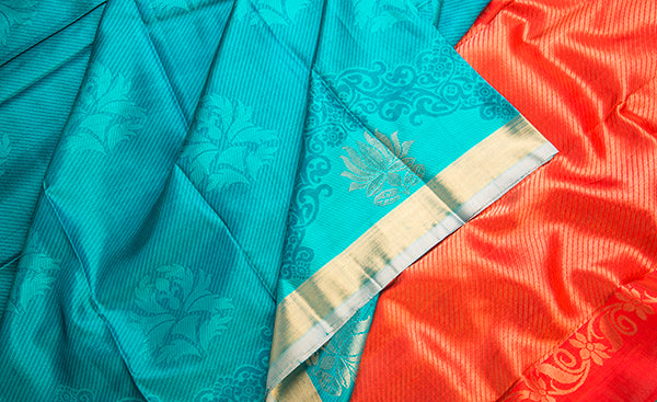 Turquoise Blue & Orange Kanchipuram Handloom Silk Saree