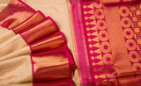 Cream & Magenta Pure Kanchipuram Handloom Silk Saree