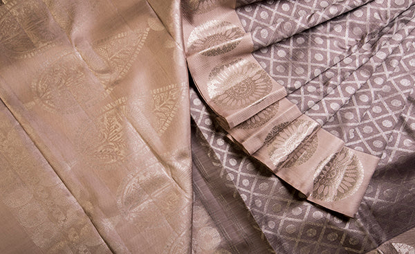 Grey & Mauve Pure Kanchipuram Handloom Silk Saree