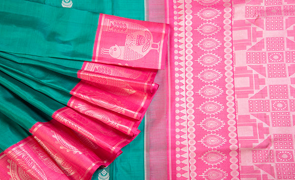 Green & Pink Pure Kanchipuram Handloom Silk Saree