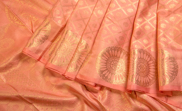 Light Peach Pure Kanchipuram Handloom Silk Saree
